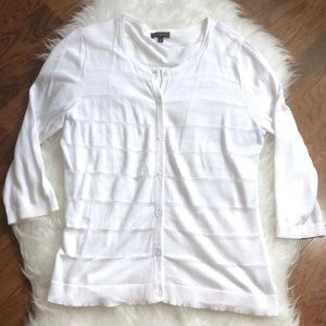 The Limited Sheer Striped White Cardigan Large